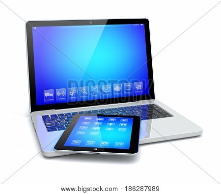 Laptop and tablet pc computer gadget with a blue background and apps on a device screen. Isolated on a white. 3d image