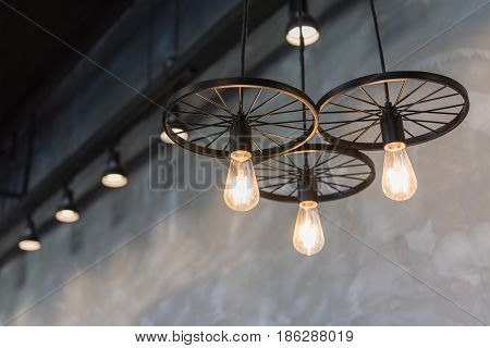 Group Of Hanging Lights In Coffee Shop