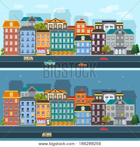 City life horizontal flat banners with urban landscapes during day and night isolated vector illustration