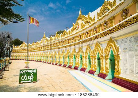 View on U Min Thonze pagoda in Sagaing at Mandalay hill , Myanmar.(Burama)