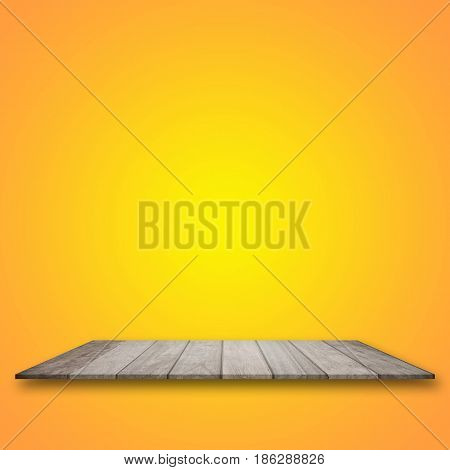 Empty top wooden table and yellow gradient background. for product display