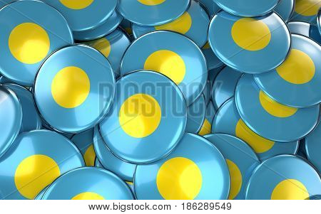 Palau Badges Background - Pile Of Palau Flag Buttons.