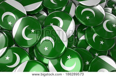 Pakistan Badges Background - Pile Of Pakistani Flag Buttons.
