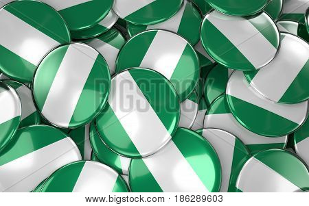 Nigeria Badges Background - Pile Of Nigerian Flag Buttons.