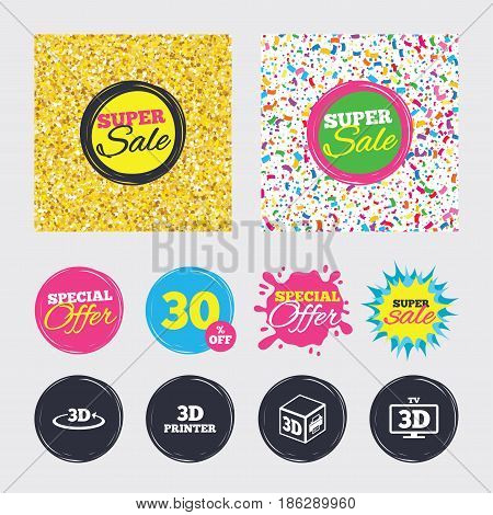 Gold glitter and confetti backgrounds. Covers, posters and flyers design. 3d technology icons. Printer, rotation arrow sign symbols. Print cube. Sale banners. Special offer splash. Vector