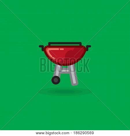 Vector icon on barbecue for picnic. Illustration of kettle barbecue picnic grill on a green background
