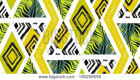 Hand drawn vector abstract freehand textured seamless tropical pattern collage with zebra motif, organic textures, triangles isolated on white background.Wedding, save the date, birthday, fashion decor.