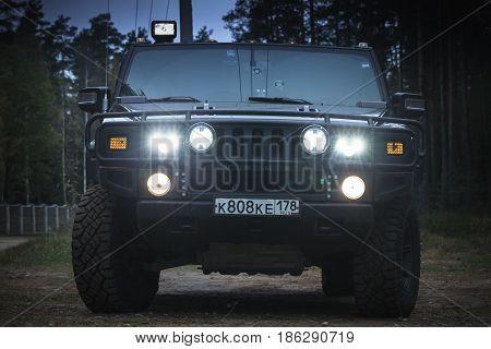 Black Hummer H2 Vehicle At Night