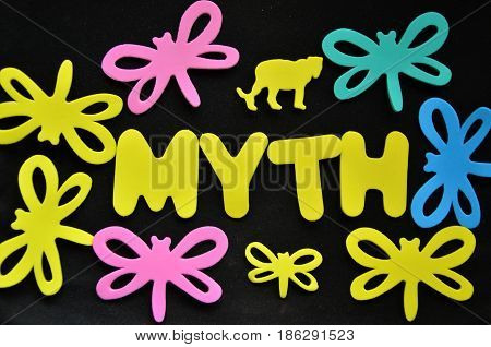 word myth on a abstract black background