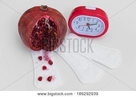 Menstruation Cycle Woman Control Health Care Period Blood Vagina Calendar Clock Concept