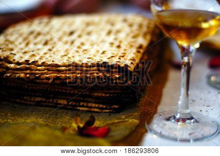 Matzah And Wine Passover Seder Meal