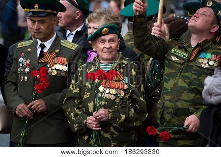 Yoshkar-Ola, Russia May 9, 2017 Photo veterans of of World War II of 1941 1945, present at the parade in honor of Victory Day on May 9. The parade takes place on the main street of the city of Yoshkar-Ola.