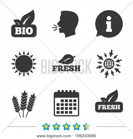 Natural fresh Bio food icons. Gluten free agricultural sign symbol. Information, go to web and calendar icons. Sun and loud speak symbol. Vector