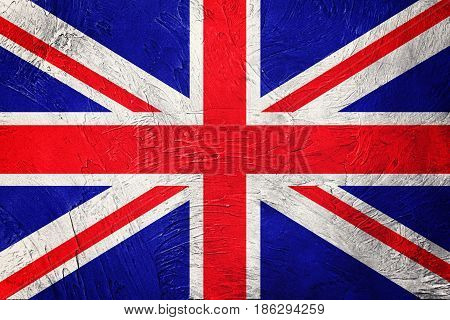 Grunge Great Britain Flag. Union Jack Flag With Grunge Texture.
