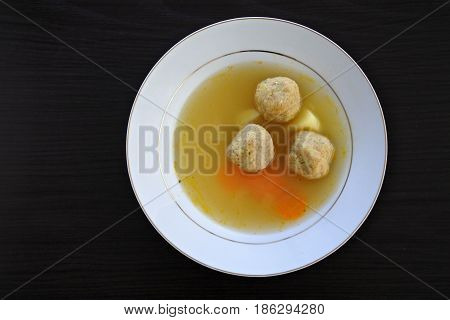Flat Lay Passover Jewish Soup Dumplings