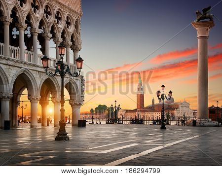 Square San Marco with the view on Palazzo Ducale and San Giorgio Maggiore in Venice at sunrise, Italy