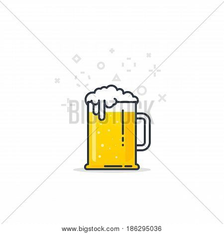 Big glass with fresh yellow live beer and white foam and bubbles. Line style flat vector illustration. Beer festival concept. Lager sort. Black lines and abstract dots and crosses.