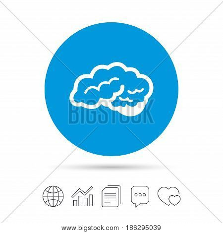 Brain with cerebellum sign icon. Human intelligent smart mind. Copy files, chat speech bubble and chart web icons. Vector