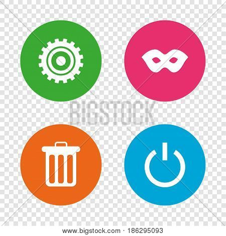 Anonymous mask and cogwheel gear icons. Recycle bin delete and power sign symbols. Round buttons on transparent background. Vector