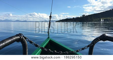 Landscape View From A Yacht Sail Over Lake Taupo New Zealand