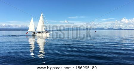 Yacht Sail Boats Sailing Over Lake Taupo New Zealand