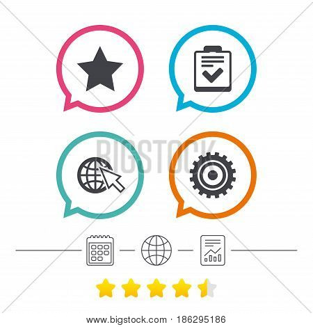Star favorite and globe with mouse cursor icons. Checklist and cogwheel gear sign symbols. Calendar, internet globe and report linear icons. Star vote ranking. Vector