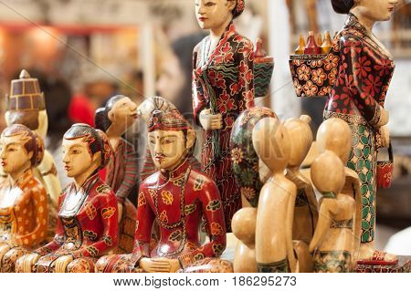 wooden statue craft made from wood souvenir decoration carving object product from java Indonesia