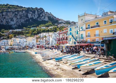 Capri, Italy - 30 April 2017: View Of Capri Port With Colorful Houses
