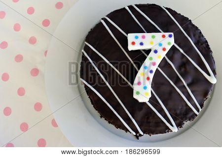 Chocolate Birthday Cake For A Seventh Birthday Or Anniversary Celebration