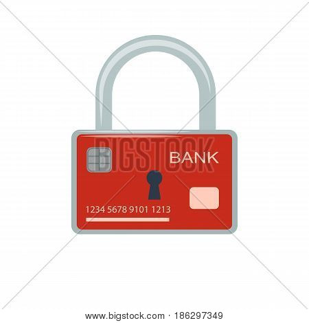 Vector illustration. Icon of security of electronic, online payments and safety of money. Bank card and lock.