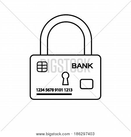 Vector illustration. Outline icon of security of electronic, online payments and safety of money. Bank card and lock.