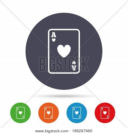 Casino sign icon. Playing card symbol. Ace of hearts. Round colourful buttons with flat icons. Vector