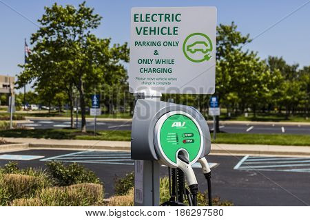 Fishers - Circa May 2017: Electric Vehicle Charging area. As electric vehicles become more popular there are many establishments that offer free charging I