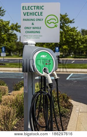 Fishers - Circa May 2017: Electric Vehicle Charging area. As electric vehicles become more popular there are many establishments that offer free charging II