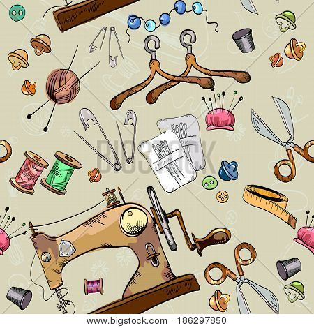 Tailor seamless pattern vector. Studio on tailoring tools seamstress fashion designer needlework sewing machine seamless pattern vector