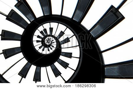 Piano keyboard abstract fractal spiral pattern background. Black and white piano keys round spiral. Spiral stair. Piano concept pattern abstract background. Abstract isolated piano on black. Spiral