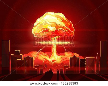Nuclear explosion. Atomic bomb in the city. Symbol of nuclear war end of world dangers of nuclear energy