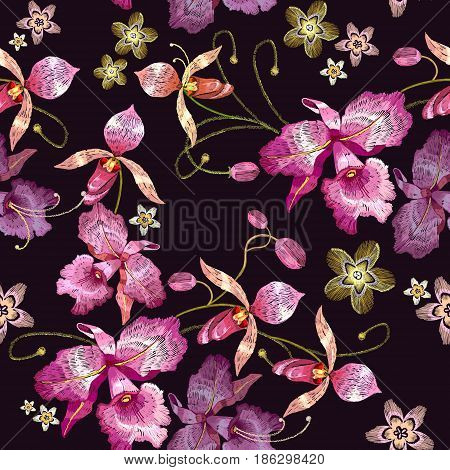 Orchids embroidery seamless pattern. Beautiful tropical orchids paradise flower classical embroidery template for clothes