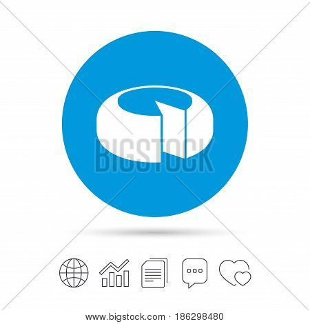 Cheese wheel sign icon. Sliced cheese symbol. Round cheese. Copy files, chat speech bubble and chart web icons. Vector