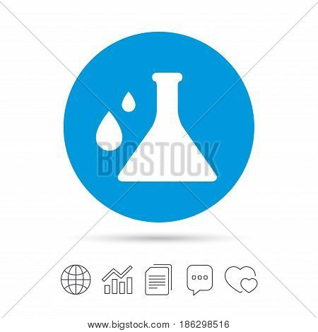 Chemistry sign icon. Bulb symbol with drops. Lab icon. Copy files, chat speech bubble and chart web icons. Vector