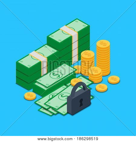 Vector illustration. Bundles of money and banknotes of dollars and coins with lock and key. A concept for secure transactions and saving money. Isometry, 3D.
