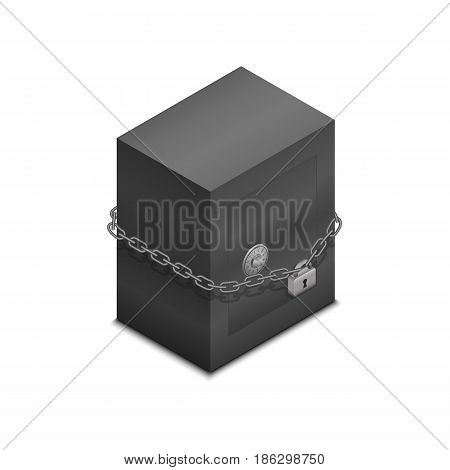Vector illustration. Lock safe icon on padlock and chain. The concept for the safe storage of valuables, money, information security. Isometry, 3D.