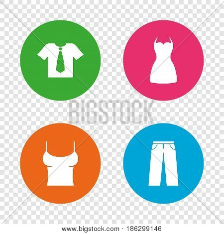 Clothes icons. T-shirt with business tie and pants signs. Women dress symbol. Round buttons on transparent background. Vector