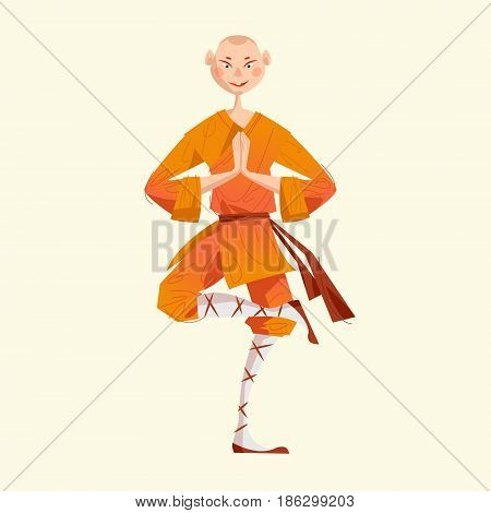 Smiling Shaolin Monk. Kung Fu. Meditating. Vector illustration