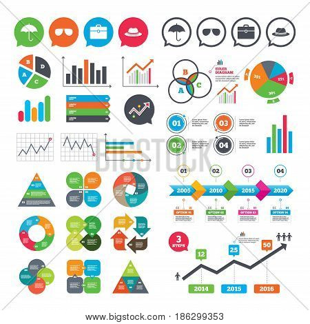 Business charts. Growth graph. Clothing accessories icons. Umbrella and sunglasses signs. Headdress hat with business case symbols. Market report presentation. Vector