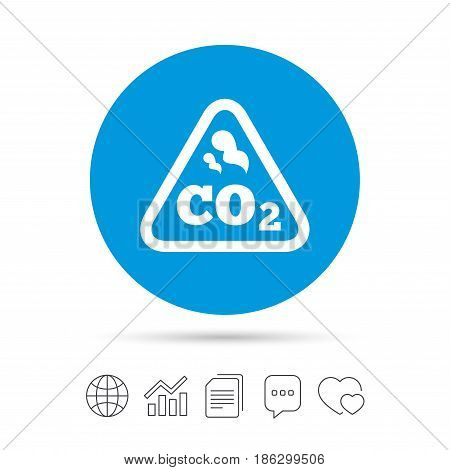 CO2 carbon dioxide formula sign icon. Chemistry symbol. Copy files, chat speech bubble and chart web icons. Vector