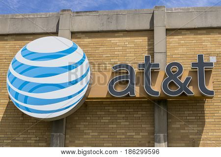 Indianapolis - Circa May 2017: AT&T Central Office. AT&T now offers IPTV VoIP Cell Phones and DirecTV XVI