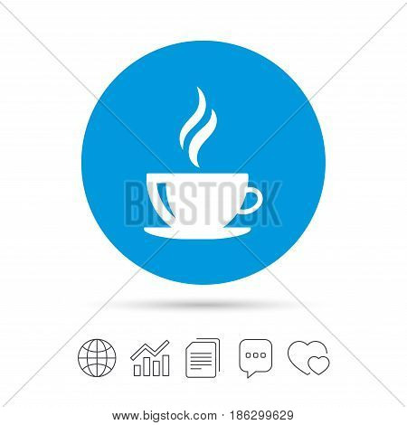 Coffee cup sign icon. Hot coffee button. Hot tea drink with steam. Copy files, chat speech bubble and chart web icons. Vector