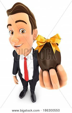 3d businessman holding easter egg illustration with isolated white background