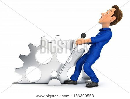 3d mechanic pulling a lever illustration with isolated white background